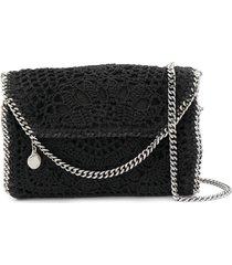 stella mccartney falabella crochet crossbody bag - black