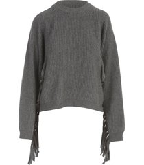semicouture alexie short sweater w/fringes