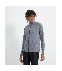 jaqueta esportiva conforto em poliamida com zíper frontal | get over | cinza | gg