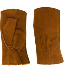 holland & holland shearling mittens - brown