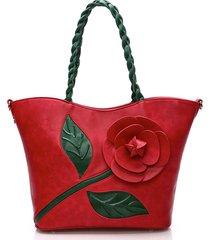brenice borsa a spalla pura in cuoio con rosa