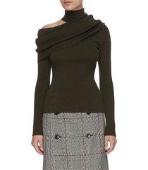 shoulder cut-out drape turtleneck sweater