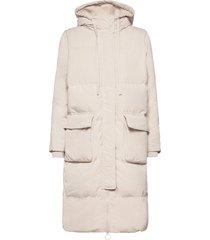 jac long down jacket gevoerde lange jas crème gap