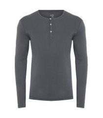 t-shirt masculina pima berlim botões slim fit - cinza