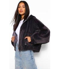 zacht faux fur oversized bomberjack, charcoal