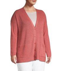 eileen fisher women's plus linen-blend boyfriend cardigan - bright sandstone - size 2x (18-20)
