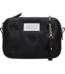 maison margiela glam slam micro shoulder bag in black leather