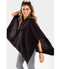 lylah lattice front poncho with hood - black