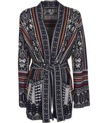 etro tie-waist patterned cardi-coat