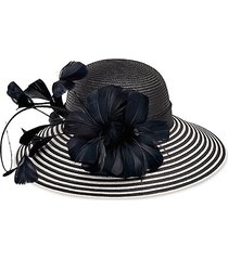 stripe feather woven brim hat