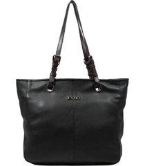 bolsa em couro recuo fashion bag shopper preto/chocolate