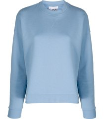 ganni drop-shoulder crew-neck sweatshirt - blue