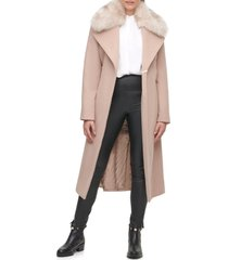 women's karl lagerfeld paris belted wool blend coat with faux fur trim, size x-large - beige