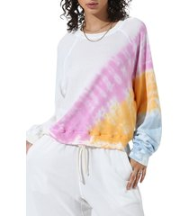 women's electric & rose farrow tie dye pullover, size large - pink