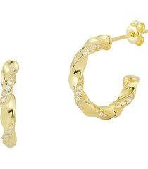 chloe & madison women's 14k goldplated sterling silver & cubic zirconia twisted hoop earrings