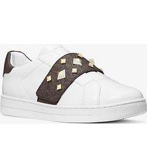 mk sneaker kenna in pelle con borchie e logo - bianco ottico (bianco) - michael kors
