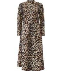 ganni animal print midi dress