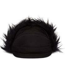 prada fabric and mohair cap - black