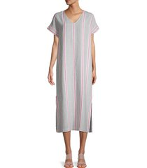 pure navy women's striped linen dress - penny stripe - size xs