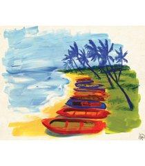 "creative gallery banoi boats on the beach 20"" x 16"" canvas wall art print"