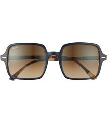 women's ray-ban 53mm square sunglasses - dark blue/ brown gradient