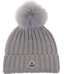 moncler woman grey beanie with fox pompon