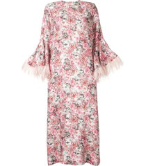 bambah camelia feather trim kaftan dress - pink