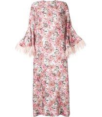 bambah camelia feather trim kaftan dress - pink