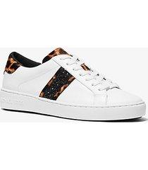 mk sneaker irving a righe in pelle e pelle effetto cavallino stampa leopardo - bianco ottico/nero (nero) - michael kors