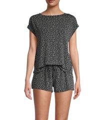 tart women's harlyn two-piece cheetah-print top & shorts set - charcoal - size m
