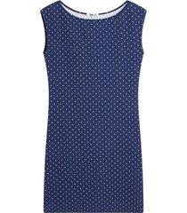 vestido m/s con estampado puntos color azul, talla l