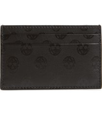 men's alexander mcqueen skull debossed leather card holder - black