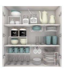 kit organizador armário cozinha xícara panela prato aço 7 un dicarlo branco