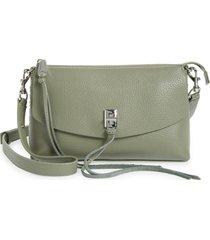 rebecca minkoff darren top zip leather crossbody bag - green