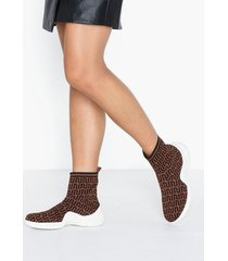 river island monogram pull on sock runner sneakers