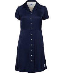 satin block diner dress korte jurk blauw calvin klein jeans