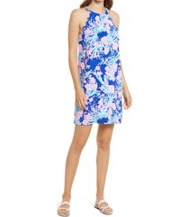 women's lilly pulitzer tabby floral shift dress, size large - blue