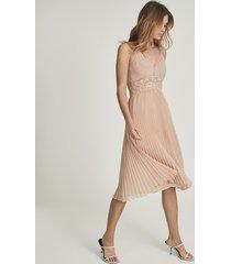 reiss emma - lace & pleat detailed midi dress in nude, womens, size 14