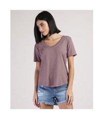 camiseta feminina básica estampada de poá manga curta decote v rosê