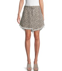 free people women's bailey leopard-print denim skirt - cheetah - size 29 (6-8)