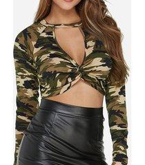yoins top corto de manga larga con corte giratorio de camuflaje verde militar