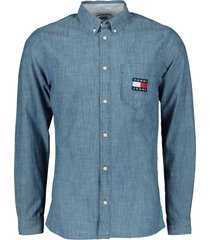 tommy jeans overhemd - slim fit - blauw