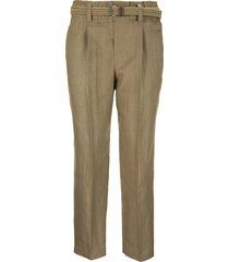 brunello cucinelli techno linen raffia-effect twill fluid cigarette trousers with rustic braided belt camel