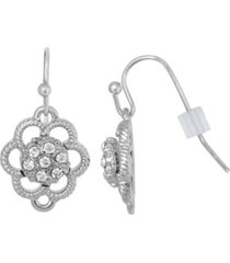 2028 silver-tone small crystal flower drop earrings