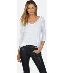 dylan core v-neck draped tee - white l