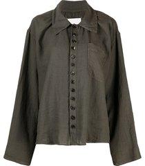 maison margiela drop-shoulder long-sleeve shirt - green