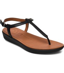 tia toe-thong sandals - leather shoes summer shoes flat sandals svart fitflop