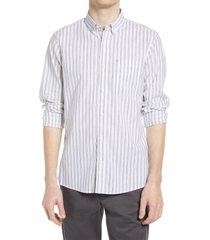 men's big & tall nordstrom trim fit stripe stretch cotton & linen button-down shirt, size xxx-large - white
