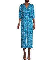 calvin klein women's floral-print v-neck jumpsuit - cerulean - size 2