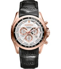 roamer men's chronograph 44 mm dress watch in steel case on strap